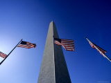 Washington Monument Flanked by American Flags, Washington, D.C. Photographic Print by Kenneth Garrett