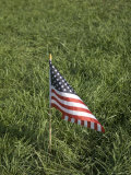 Small American Flag Sticks Out of the Ground, Greenleaf, Kansas Photographic Print by Joel Sartore