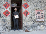 Sign Painter Smiles in the Door Way of his Rural Chinese Shop, Shennongjia, China Photographic Print by David Evans