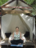 Woman Meditating at Sunrise in the Garden at Shangra la Paradise, California Photographic Print by Rich Reid