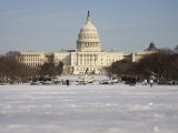 The National Capitol Building and the Mall under Fresh Snow Photographic Print by Stephen St. John