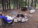 Woman and Her 3-Month-Old Camping at Sheep Creek Campground Photographic Print by Rich Reid