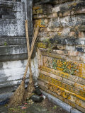 Two Brooms Rest in the Corner of Ming Dynasty Chinese Mausoleum, China Photographic Print by David Evans