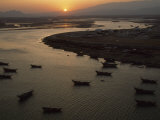 Sur Harbor from Rocky Mount in Ayaj at Sunset, Oman Photographic Print by James L. Stanfield