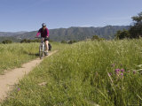 Woman Mountain Biking on the Multi-Use Trail System in Ojai Photographic Print by Rich Reid