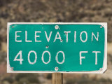 Weathered Elevation Sign on Highway 33 on Reyes Peak, California Photographic Print by Rich Reid