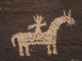 Wolfe Ranch Ute Petroglyph Panel of Horse and Rider Fotografisk tryk af Rich Reid