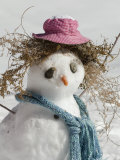 Snowman with a Carrot Nose, Fake Hair, Hat, and Scarf, California Photographic Print by Rich Reid