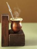 Beaker of Chimarrao with Silver Straw on Wood Fotografie-Druck von Ricardo De Vicq De Cumptich
