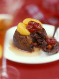 Christmas Pudding, Decorated with Clementine and Cranberries Photographic Print by Jean Cazals