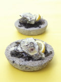 Oysters with Seaweed in Stone Bowl Photographic Print by Alexander Van Berge