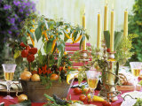 Table Decoration with Candles and Vegetables Photographic Print by Friedrich Strauss