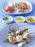 Fish Fondue with Three Different Sauces Photographic Print by Jörn Rynio