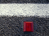 White Line and Red Reflective Marker Set into the Road Bitumen, Australia Photographic Print by Jason Edwards