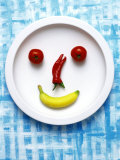 Food Collage: Face Made from Banana, Chili & Tomatoes on Plate Photographic Print by Dorota & Bogdan Bialy