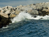 Wave Rolling against Rock Jetty at Old Harbor on Block Island, Rhode Island Photographic Print by Todd Gipstein