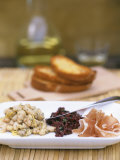 Tapas Plate: Beans with Lime, Olive Tapenade, Ham Photographic Print by Louise Lister