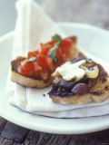 Bruschetta (With Tomato) and Toasted Bread with Onions Photographic Print by Jean Cazals