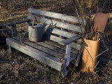 Weathered Garden Bench and Rusting Tools Await Spring, Silver Spring, Maryland Photographic Print by Stephen St. John