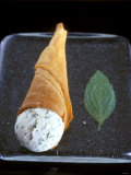 Mascarpone and Basil Ice Cream in Wafer Cone Photographic Print by Jean Cazals
