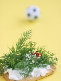 Miniature Footballer Fighting His Way Through Forest of Dill Photographic Print by Martina Schindler