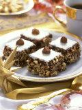 Small Hazelnut Cake on Christmassy Coffee Table Photographic Print by Alena Hrbkova
