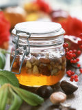 Honey with Chestnuts and Almonds in Jar Photographic Print by Alena Hrbkova