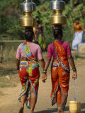 Women from Khilabandar Balance Containers of Water on their Heads Photographic Print by James L. Stanfield