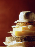 A Pile of Pieces of Different Cheeses Photographic Print by Tim Thiel