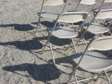 White Chairs Cast Shadows on the Sand, Holmes Beach, Florida Photographic Print by Stacy Gold