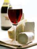 Cheese Still Life with Red Wine Photographic Print by Alena Hrbkova