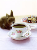 Cup of Coffee, Easter Biscuits and Plush Bunny Fotografie-Druck von Roland Zollner