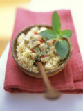 Middle Eastern Chick Pea Sugo with Brown Mushrooms on Couscous Photographic Print by Michael Boyny