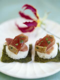 Raw Sushi-Style Tuna Snacks Photographic Print by Jean Cazals