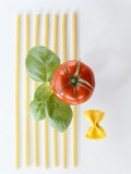 Macaroni, Farfalle, Tomato and Basil Photographic Print
