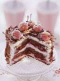 Small Black Forest Gateau, Slices Taken Photographic Print