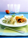 Asparagus Ragout with Ham Pancakes Photographic Print by Jan-peter Westermann
