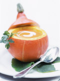 Pumpkin Soup with Creme Fraiche in Hollowed-Out Pumpkin Photographic Print by Brigitte Sporrer