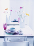 Pastel-Coloured Table Setting and Vases of Flowers on Table Photographic Print by Alexander Van Berge