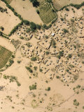Village with Irrigated Gardens Along a Wadi, Just North of Agadez, Niger Fotografisk tryk af Michael Fay