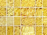 Still Life: Various Types of Pasta in White Typesetter&#39;s Case Photographic Print