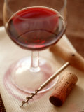 Red Wine Glass with Corkscrew and Cork Photographic Print by Dirk Pieters