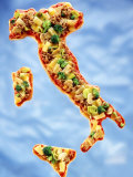 Pizza in Shape of Map of Italy Photographic Print