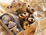 Assorted Christmas Biscuits in Gift Boxes Photographic Print