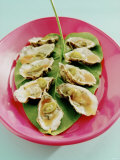 Oysters with Tomato Oil and Jalapeno (Chili Rings) Photographic Print by Alexander Van Berge