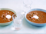 Cream of Lentil Soup with Sour Cream Photographic Print by J&#246;rn Rynio