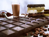 Bar of Chocolate with Cocoa, Cocoa Powder and Cocoa Beans Photographic Print by Peter Rees