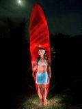 Woman Stands by a Big Wave Surf Board under a Full Moon, Hawaii Photographic Print by Bill Hatcher