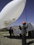 Workers Prepare to Launch an Industrial Dirigible, Qinghai, China Photographic Print by David Evans