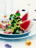 Mixed Salad with Shrimps and Watermelon Photographic Print by Alexander Van Berge
